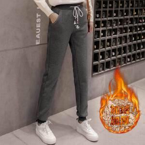 冬季新款运动裤女加绒加厚哈伦裤羊羔绒休闲裤卫裤外穿棉裤子