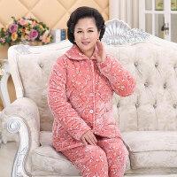 中老年人冬季加厚夹棉珊瑚绒睡衣女法兰绒长袖大码妈妈家居服套装 花花世界