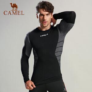 camel骆驼运动紧身衣 男款健身健美瑜伽运动跑步长袖衣
