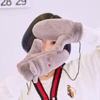 2018冬季新款学生可爱猫咪毛绒韩版女冬天连指手套加厚骑车手套 均码