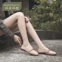 玛菲玛图2020秋季新款单鞋女花朵方头浅口鞋休闲森女平底鞋女2890-3