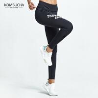 【限时狂欢价】Kombucha瑜伽裤2018新款女士弹力紧身显瘦翘臀九分裤瑜伽跑步健身打底象印字长裤K0768