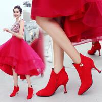 婚鞋女2019新娘鞋冬季红鞋子女结婚靴子细跟婚靴高跟猫跟短靴