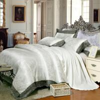 欧式贡缎提花四件套全棉纯棉欧美风蕾丝被套床上四件套结婚大红色 白色 广岛之恋(白)