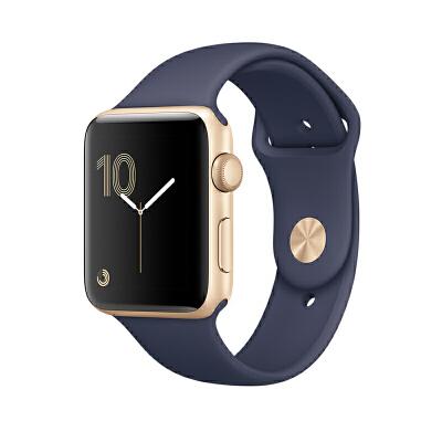 Apple Watch Series 2 智能手表(42毫米金色铝金属表壳 午夜蓝色运动型表带 GPS 50米防水 蓝牙 MQ152CH/A)可使用礼品卡支付 国行正品 全国联保