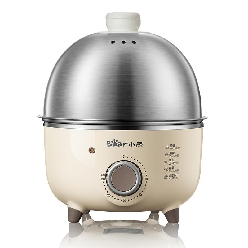 小熊(Bear) 煮蛋器 蒸蛋器 双层定时不锈钢早餐机煎蛋器烙饼机 米白色 ZDQ-B14J1双层定时不锈钢 蒸煮煎烙多功能