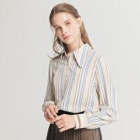 Lagogo/拉谷谷2019冬季新款方领撞色条纹单排扣衬衫女ICCC429C11