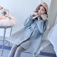 2019冬季新款韩版上衣宽松呢子大衣孕妇冬装中长款厚毛呢外套