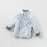 戴维贝拉春季新款男童条纹衬衫宝宝全棉衬衣DB10180
