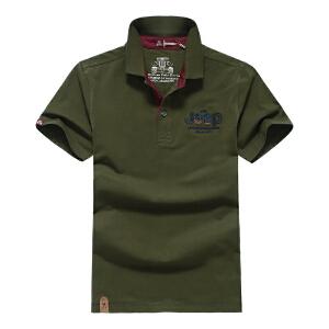 夏装新款战地吉普AFS JEEP纯棉短袖男士T恤衫 翻领纯色半袖t恤 弹力大码polo衫8023薄款汗衫