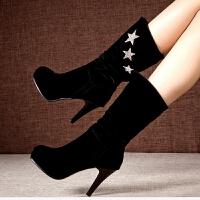 欧美秋冬季中筒靴细跟靴子高跟女靴圆头套筒女鞋磨砂骑士靴子 2070 绒里(套筒款)