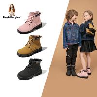 【年��r:151.9元】暇步士Hush Puppies童鞋�和�靴子2020秋冬新款男童保暖�R丁靴女童拉�款加�q短靴潮