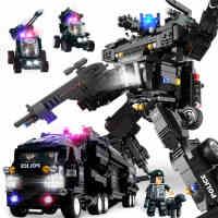 沃马积木兼容乐高军事警察儿童益智拼装积木玩具14岁以上男孩子