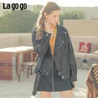 Lagogo/拉谷谷2019新款纯色拉链斜领PU外套女ICRR138B43