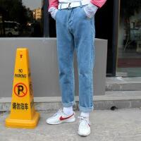 韩国官网同款复古阔腿宽松直筒刺绣RUN高腰牛仔裤长裤男女情侣 如图
