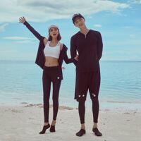 Re2018情侣泳衣新款渡假套装海边蜜月旅行冲浪沙滩装长袖防晒两件套