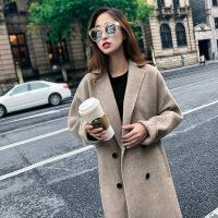 2018秋冬新款毛呢外套女中长款气质西装领双排扣毛呢大衣简单大方MM9671 X
