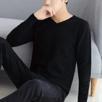 秋冬男士长袖T恤韩版V领针织衫潮流男装上衣服学生薄款毛衣打底衫TKZ178822