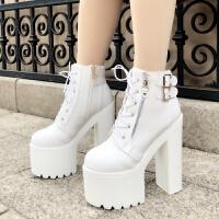 2019秋季女鞋16CM17超高跟粗跟短靴防水台短筒马丁靴潮女靴子