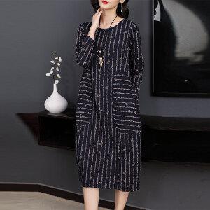 早秋连衣裙2018新款女装名媛气质宽松遮肉女士长袖条纹中长款裙子