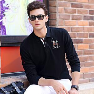 【限量抢购,好质量】秋冬季时尚休闲厚款纯棉polo衫男装长袖t恤翻领
