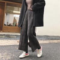 复古格子百褶毛呢阔腿裤女冬季韩版宽松加绒加厚休闲九分裤直筒裤