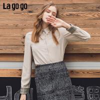 Lagogo/拉谷谷2019冬季新款方领撞色拼接衬衫女ICCC43XF11