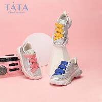 tata女童运动鞋2020春夏新款休闲鞋韩版水钻老爹鞋波浪底跑步鞋潮