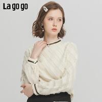 Lagogo2019冬季新款学院风套头时尚圆领流苏雪纺衫女ICSS529B17