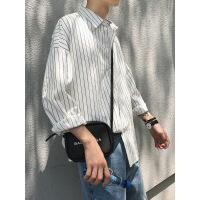 衬衫男学生ins超火的衬衫秋季港风白色条纹衬衫男长袖韩版潮流网红衬衣男