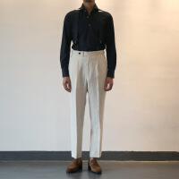 休闲西裤定制 男士米白色纯亚麻高腰单褶九分西裤 高定款巴黎扣西装裤 乳白色