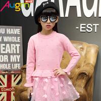 奥戈曼  女童连衣裙儿童长袖拼接纱裙女孩时尚公主毛衣裙秋季新款童装裙子