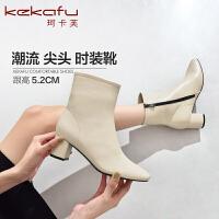 19珂卡芙冬季新款【耐看】网红性感复古短靴圆头时装靴百搭女靴