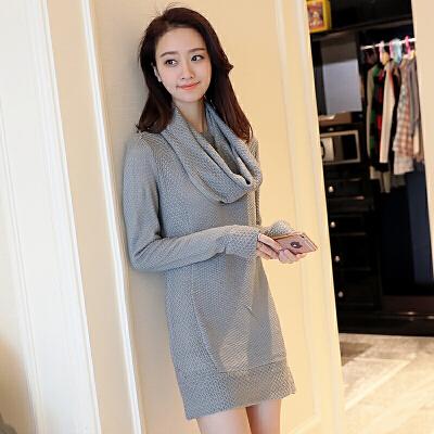 2018秋季新款韩版修身女装中长款针织衫毛衣纯色百搭显瘦潮流上衣