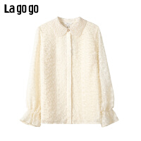 【开学季单件五折叠300-30优惠券】Lagogo2019冬新款喇叭袖淑女衬衫女米色娃娃领雪纺上衣ICCC439A07