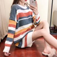 韩版时尚套头条纹中长款宽松大码上衣潮孕妇秋冬装孕妇毛衣连衣裙