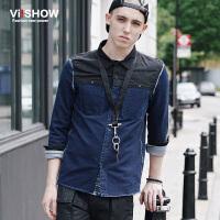 viishow男装新款牛仔衬衫 修身型长袖拼接男士衬衣 潮休闲