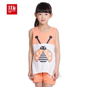 季季乐童装夏季女童无袖套装休闲可爱中小童二件套GXZ53246
