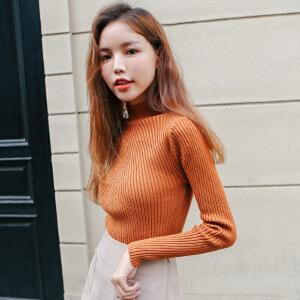 2017秋冬女装新款潮韩版半高领套头上衣女秋装修身显瘦打底针织衫