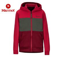 Marmot/土拨鼠男童休闲抓绒开衫保暖速干帽衫