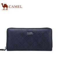Camel/骆驼男包真皮男士手拿包菱格牛皮横款手包男商务休闲手机包