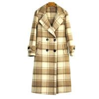 新女大衣超格子羊绒大衣女式毛呢外套2018秋冬新款阿尔巴卡双面呢大衣