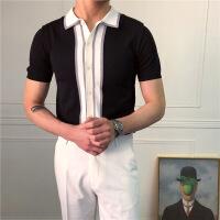 衬衫男学生鹿三先生薄款针织衫男士弹力撞色青年撞色T恤翻领上衣潮