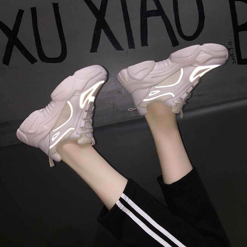 子女秋季单鞋2019韩版潮流学生百搭厚底松糕女士运动鞋 米色 反光条
