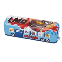 日照鑫 包邮 汽车总动员文具盒铁带轮子创意卡通闪电麦昆两层小学生男女铅笔盒一个装