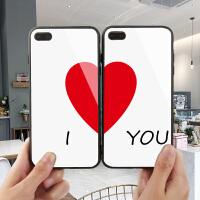 ILoveYou爱心苹果7plus手机壳秀恩爱情侣款iPhone6S保护套XS MAX简约彩绘8镜面XR玻璃X硅胶软边