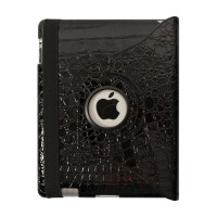 ikodoo爱酷多 苹果平板电脑ipad2/3/4鳄鱼纹支架型保护套 智能休眠唤醒皮套 ipad4保护套 ipad3保