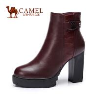 Camel/骆驼时尚 打蜡牛皮石头纹牛皮圆头 高跟防水台女短靴