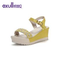 依思q凉鞋女新款夏季时尚潮鞋百搭坡跟一字带女鞋19164090