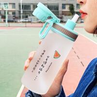 创意可爱便携刻度韩版潮流杯子学生吸管水杯女玻璃杯